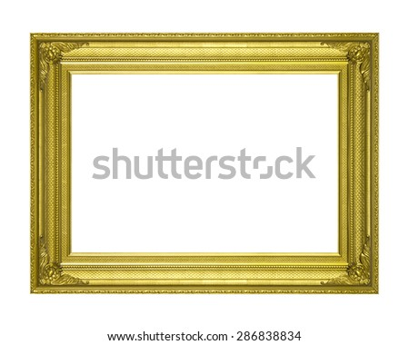 Old gold wooden frame isolated on white background. - stock photo