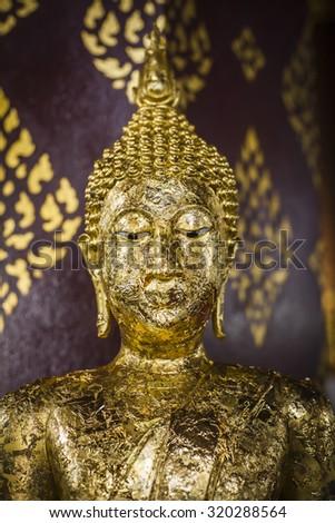 Old golden Buddha  - stock photo