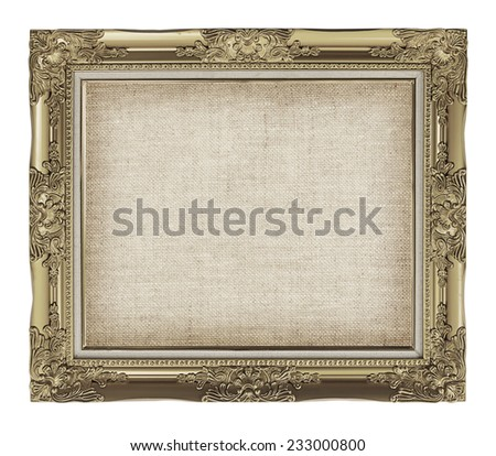 old golden frame with empty grunge linen canvas for your picture, photo, image. beautiful vintage background - stock photo