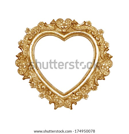 Old golden heart picture frame isolated on white with clipping path. - stock photo