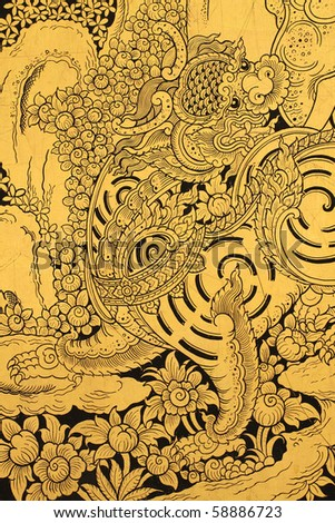 Old golden lion in Thai style painting.
