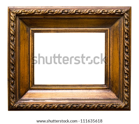 Old golden retro mirror frame (No#24) isolated on white background  (detailed clipping paths included) - stock photo