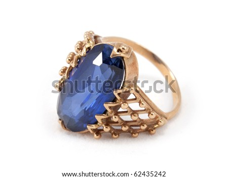 Old golden ring isolated on the white background - stock photo