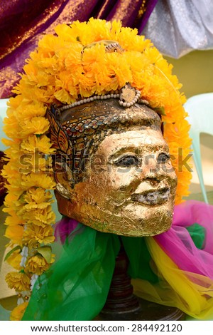 Old golden Thai style mask, masks , focus on a center - stock photo