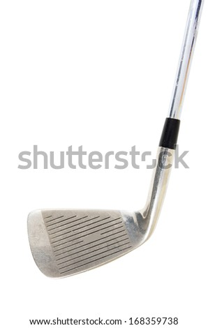 old golf club isolated on white background - stock photo
