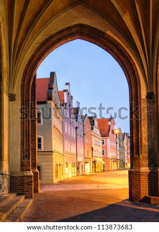 Old gothic art town near Munich, Landshut, Germany