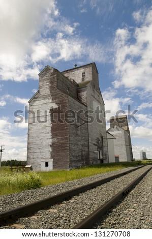 Old grain elevator in rural Saskatchewan - stock photo