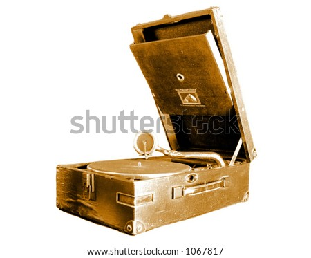 Old Gramophone. - stock photo