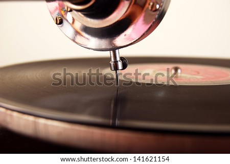 old gramophone - stock photo