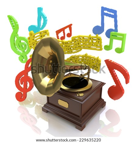 Old gramophone and musical notes  - stock photo