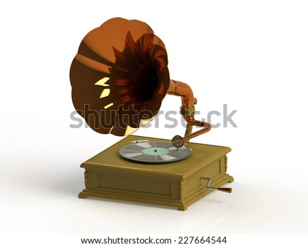 old gramophone on white background. 3D render