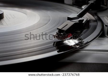old gramophone Vinyl music record retro player - stock photo