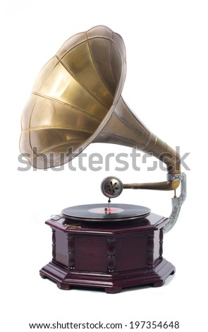 Old gramophone with vinyl on white background  - stock photo