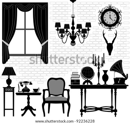 Old Grandfather Room Antique Retro Living Hall Furniture - stock photo