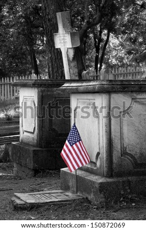 Old Graves and U.S. Flag