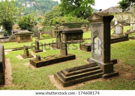 old graveyard - stock photo