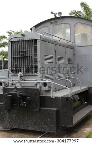 Old gray diesel locomotive for coal mining.