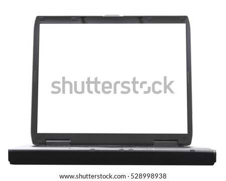 old gray laptop on white background. front view