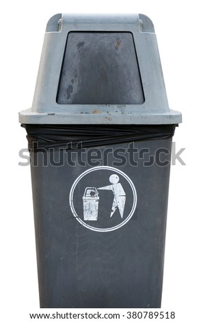 Old gray plastic bin isolated on white background