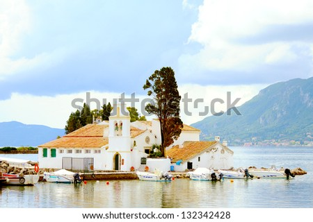 Old Greek Christian Orthodox church Vlacherna, Kanoni in Kerkyra, Corfu, Greece - stock photo