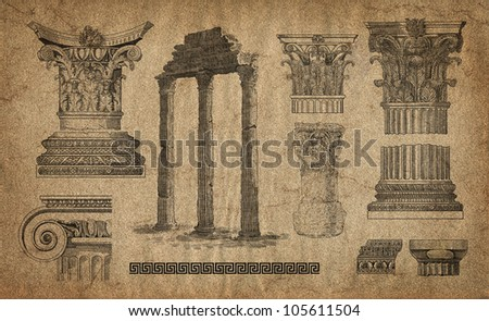 Old greek column set - stock photo