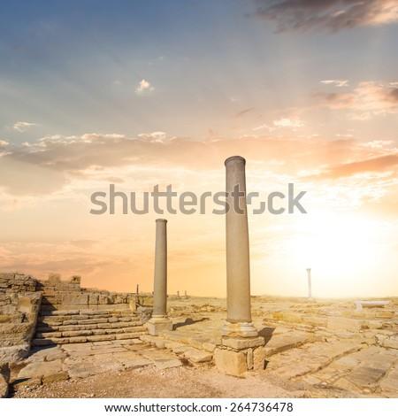 old greek polis ruin cyprus limassol - stock photo