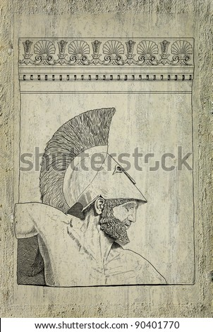 Old greek soldier - stock photo