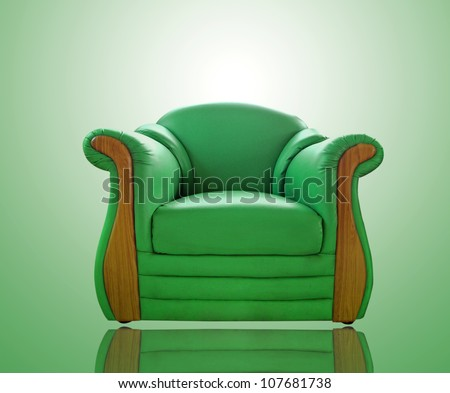 old green leather sofa - stock photo