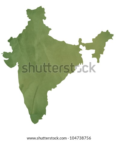 Old green map of India in textured green paper, isolated on white background.