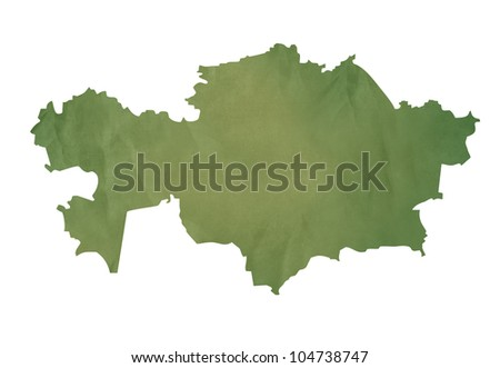 Old green map of Kazahkstan in textured green paper, isolated on white background.