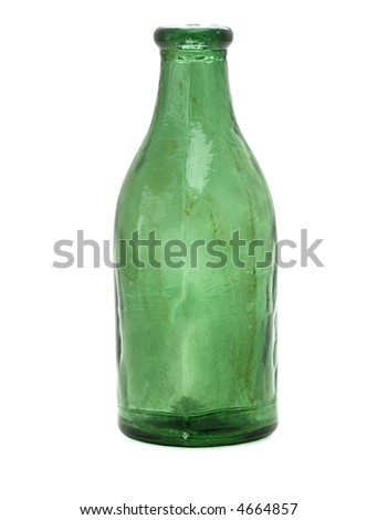 Old, green medicine bottle isolated on white