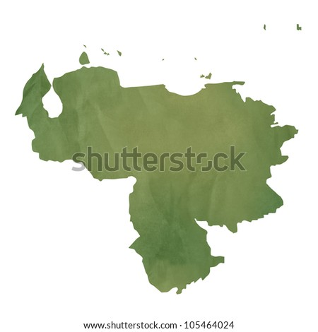 Old green paper map of Venezuela isolated on white background - stock photo