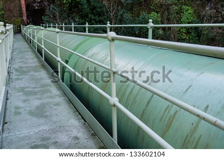 old green pipes - stock photo