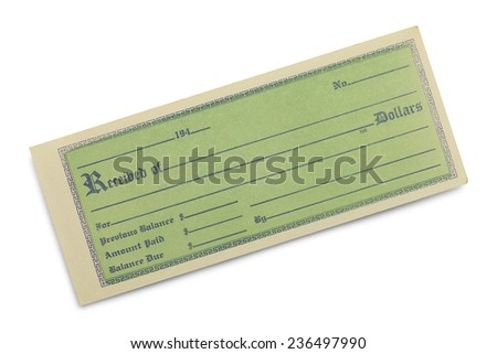 Old Green Receipt with Copy Space Isolated on White Background. - stock photo