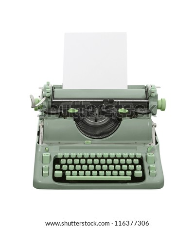 Old green typewriter isolated with clipping path.