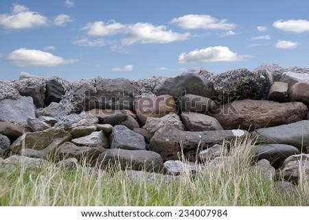 old grey stone wall in county Kerry Ireland on the wild atlantic way - stock photo