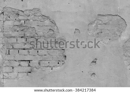 Old grey wall background. Grunge texture. Brick wall
