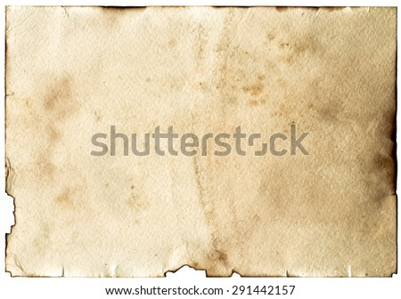 Old grunge antique paper with spots and stains horizontal background
