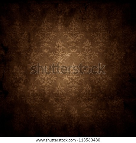 old grunge background texture with wallpaper pattern - stock photo