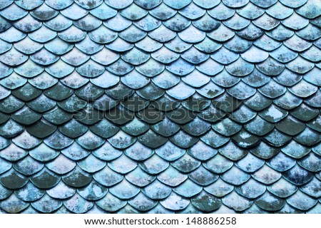 Old grunge blue scale roof. - stock photo