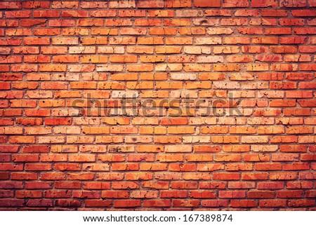 Old grunge brick wall background - stock photo