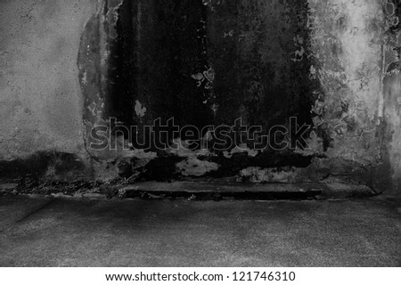 old grunge concrete wall  and floor. - stock photo