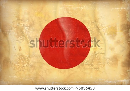 Old grunge flag of japan background vector