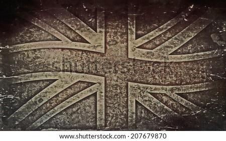 Old grunge flag of United kingdom - stock photo
