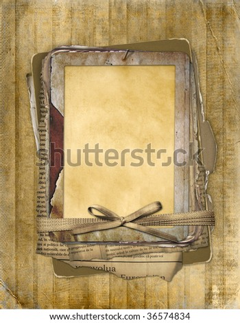 Old grunge frame on the abstract background with bow