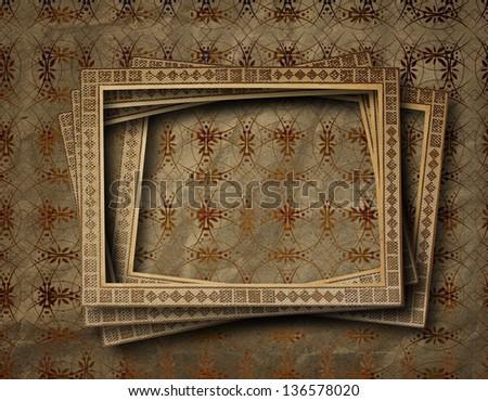 Old Grunge Frames On Ancient Paper Stock Illustration 136578020 ...