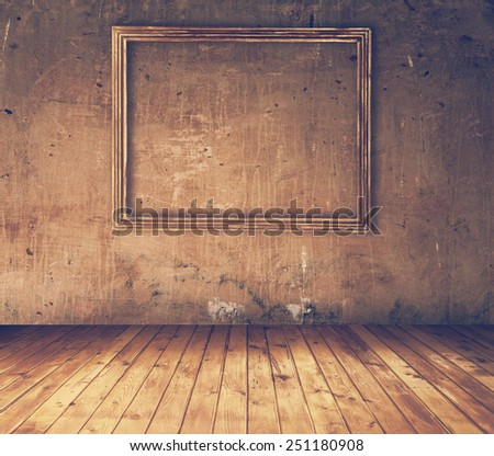 old grunge interior, retro filtered, instagram style - stock photo