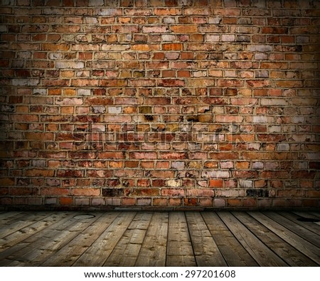 old grunge interior with brick wall and floor - stock photo