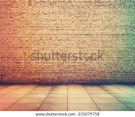 old grunge interior with brick wall, retro film filtered, instagram style  - stock photo