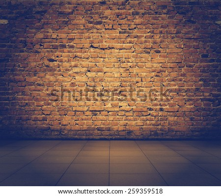 old grunge interior with brick wall, retro filtered, instagram style - stock photo